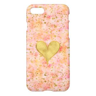 Capa iPhone 8/7 Coração cor-de-rosa feminino dos confetes da