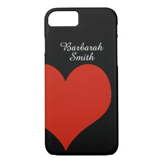 Capa iPhone 8/7 coração vermelho grande no preto