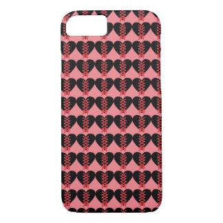 Capa iPhone 8/7 Corações pretos e vermelhos extravagantes no fundo