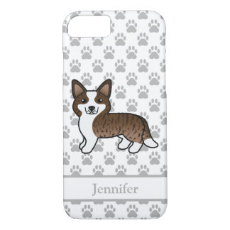 Capa iPhone 8/7 Corgi rajado de Galês do casaco de lã de Brown com