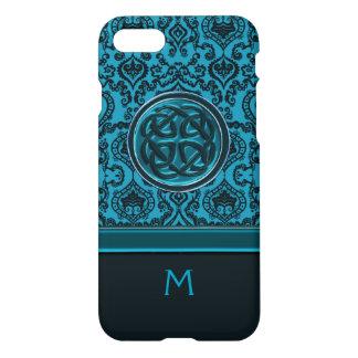Capa iPhone 8/7 Damasco do monograma e nó azuis elegantes do
