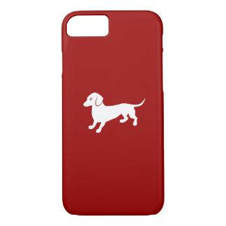 Capa iPhone 8/7 Design vermelho e branco do Dachshund