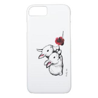 Capa iPhone 8/7 Dois coelhos brancos pequenos
