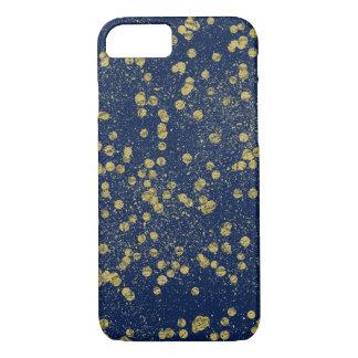 Capa iPhone 8/7 Dos confetes azuis da faísca do ouro pontos