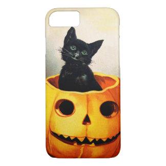 Capa iPhone 8/7 Ellen H. Clapsaddle: Gato preto em Jack O'Lantern