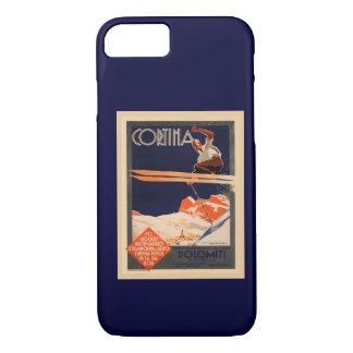 Capa iPhone 8/7 Esqui do vintage, cortina, Italia