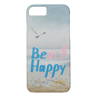 Capa iPhone 8/7 Estrela do mar e gaivota felizes da praia