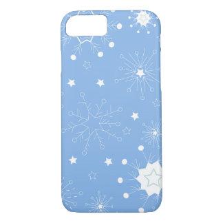 Capa iPhone 8/7 Flocos de neve do feriado no azul