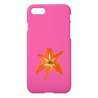 Capa iPhone 8/7 Flor alaranjada do Lilium sobre o rosa