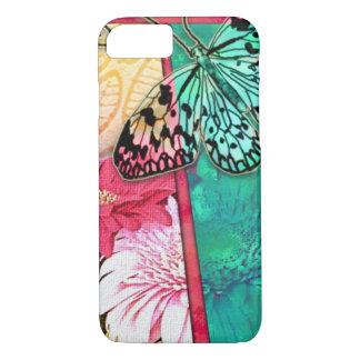 Capa iPhone 8/7 Flores e borboleta coloridas da colagem