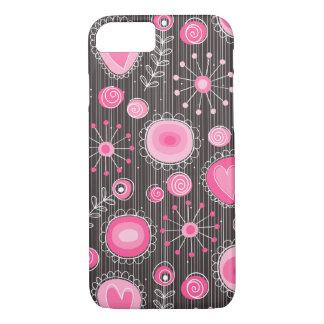 Capa iPhone 8/7 Flores lunáticas no caso cor-de-rosa do iPhone 7