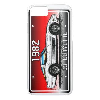 Capa iPhone 8/7 Fundo 1982 Arte-Vermelho da matrícula de C3
