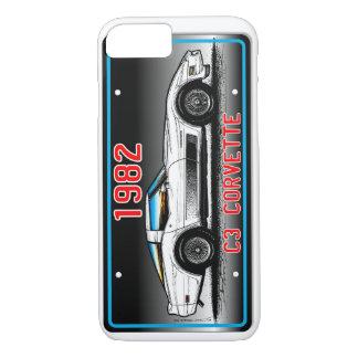 Capa iPhone 8/7 Fundo 1982 das Arte-Cinzas da matrícula de C3