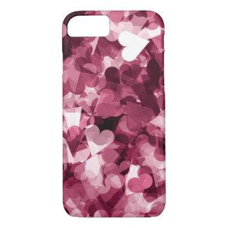 Capa iPhone 8/7 Fundo cor-de-rosa macio dos corações de Kawaii