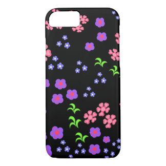 Capa iPhone 8/7 Fundo floral do preto do teste padrão