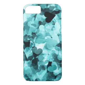 Capa iPhone 8/7 Fundo macio dos corações de Kawaii dos azuis bebés