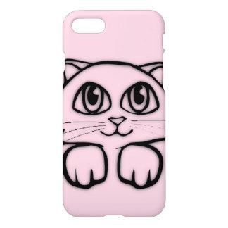 Capa iPhone 8/7 Gato bonito que espreita o rosa