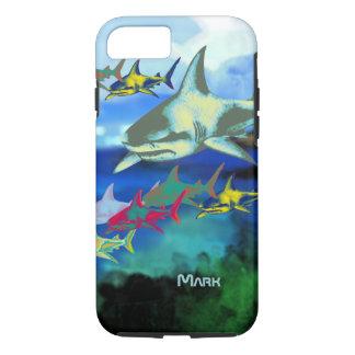 Capa iPhone 8/7 ilustração digital dos tubarões