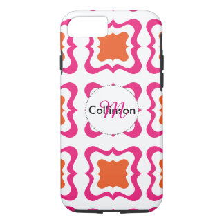 Capa iPhone 8/7 Laranja quadrada moderna do rosa quente do teste