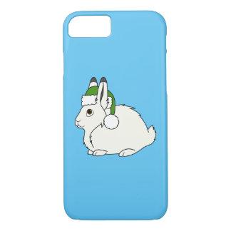Capa iPhone 8/7 Lebre ártica branca com o chapéu do papai noel do