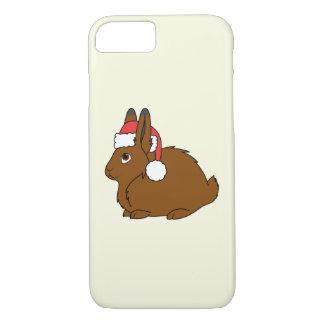 Capa iPhone 8/7 Lebre ártica de Brown com o chapéu vermelho do