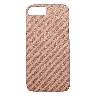 Capa iPhone 8/7 Listras do brilho do ouro no rosa