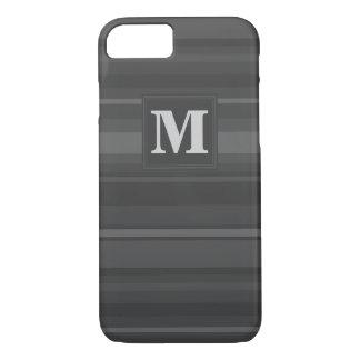 Capa iPhone 8/7 Listras do carvão vegetal do monograma