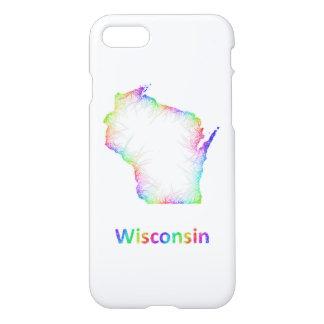 Capa iPhone 8/7 Mapa de Wisconsin do arco-íris