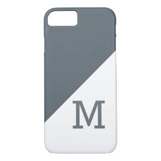 Capa iPhone 8/7 Monograma branco do bloco da cor do carvão vegetal