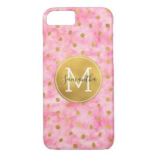 Capa iPhone 8/7 Monograma cor-de-rosa chique dos confetes do ouro
