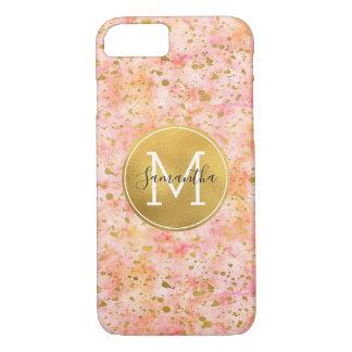Capa iPhone 8/7 Monograma cor-de-rosa feminino dos confetes da
