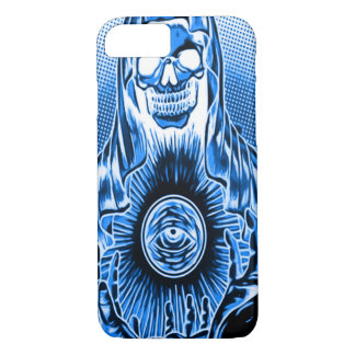 Capa iPhone 8/7 Morte azul retro do crânio de Skully