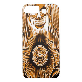 Capa iPhone 8/7 Morte de cobre retro do crânio de Skully