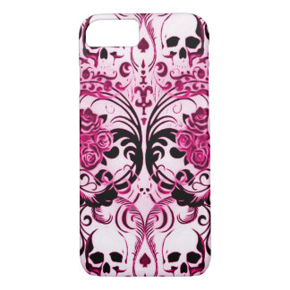 Capa iPhone 8/7 Morte do rosa do crânio de Skully