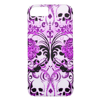 Capa iPhone 8/7 Morte do roxo do crânio de Skully