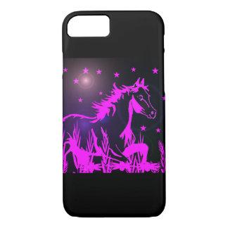 Capa iPhone 8/7 Mustang cor-de-rosa no fundo preto
