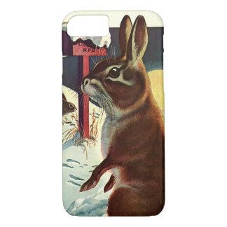 Capa iPhone 8/7 Natal vintage, coelhos em um prado da neve do