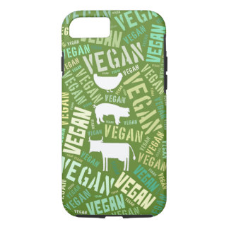 Capa iPhone 8/7 Nuvem da palavra do Vegan com uma vaca, um porco e
