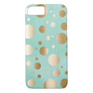 Capa iPhone 8/7 O confete chique do ouro pontilha a caixa azul do