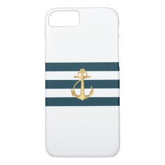Capa iPhone 8/7 O marinho náutico da âncora do ouro listra a caixa
