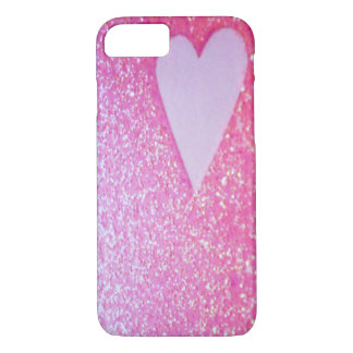 Capa iPhone 8/7 O rosa Sparkles caso do iPhone 6 do coração