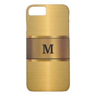 Capa iPhone 8/7 Olhar do ouro do monograma dos homens