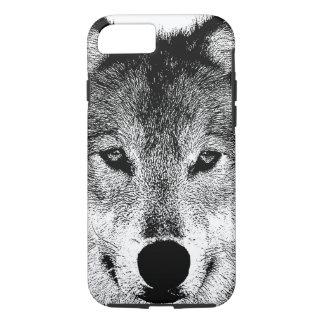Capa iPhone 8/7 Olhos selvagens pretos & brancos do lobo