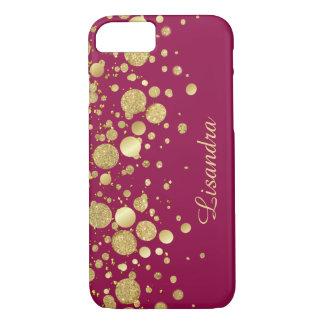Capa iPhone 8/7 Os confetes da folha de ouro no vinho picam a