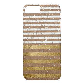Capa iPhone 8/7 ouro & listras elegantes brancas