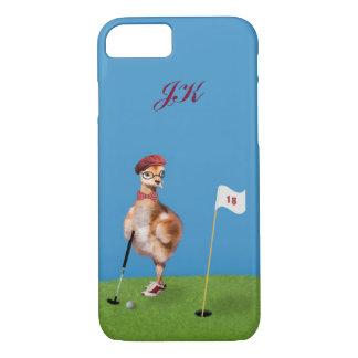 Capa iPhone 8/7 Pássaro cómico que joga o golfe, monograma