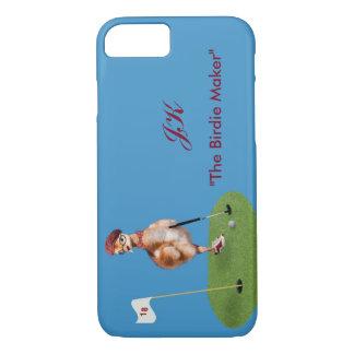 Capa iPhone 8/7 Pássaro cómico que joga o golfe, texto