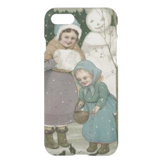 Capa iPhone 8/7 Pássaros de alimentação do boneco de neve das