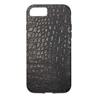 Capa iPhone 8/7 Pele de couro preta legal do jacaré