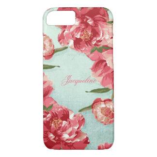 Capa iPhone 8/7 Peônias à moda elegantes de chintz da flor retro